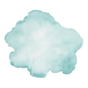 Aquarela mancha azul isolada no fundo branco