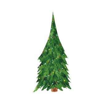 Aquarela mão desenhada clipart de árvore de ano novo. ilustração da árvore de natal.