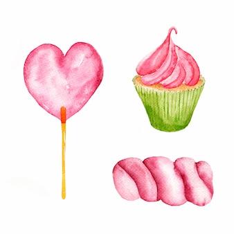 Aquarela mão desenhada doces coloridos cupcakes em forma de coração e marshmallows.