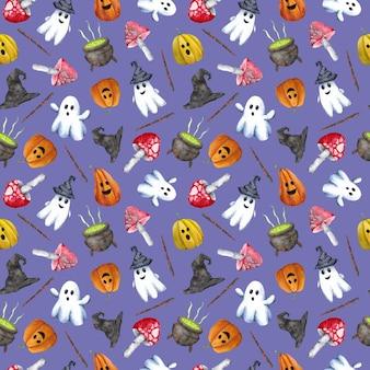 Aquarela mão desenhada halloween padrão sem emenda em fundo violeta. truque ou travessura de fundo. impressão fofa de halloween para papel, cobertura, embrulho, papel de parede, cartões, saudações e decoração.