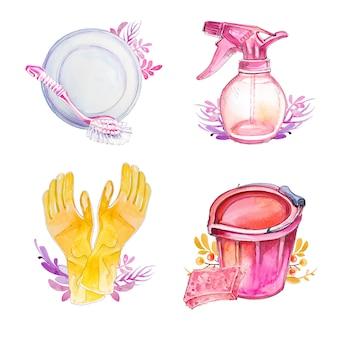 Aquarela mão desenhada limpeza conjunto de clipart isolado em um branco. material de limpeza