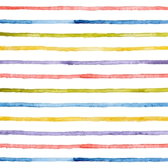 Aquarela mão desenhada listras brilhantes linhas horizontais.