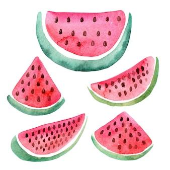 Aquarela mão ilustrações desenhadas com fatias de melancia