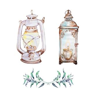 Aquarela mão pintada lanterna vintage. luz retrô