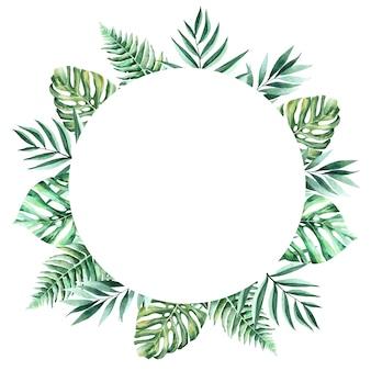 Aquarela mão pintada moldura tropical