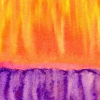 Aquarela mão pintado o fundo. textura abstrata em cores roxas e laranja