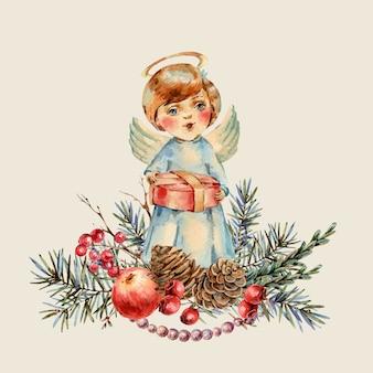 Aquarela menino bonito de natal com um presente nas mãos canta uma canção de natal. ramos de abeto, maçã vermelha, bagas, pinhas, ilustração botânica vintage