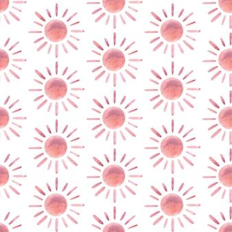 Aquarela moderna abstrata sol padrão sem emenda pintado à mão berçário bonito boêmio impressão