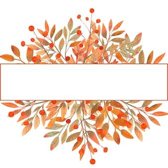 Aquarela moldura outono de folhas