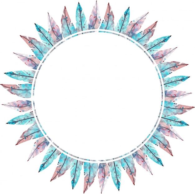 Aquarela moldura redonda feita de penas azuis e rosa. ilustração em aquarela.
