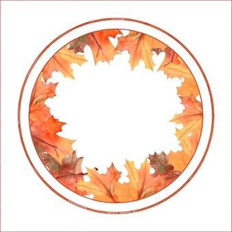 Aquarela moldura redonda outono feita de folhas