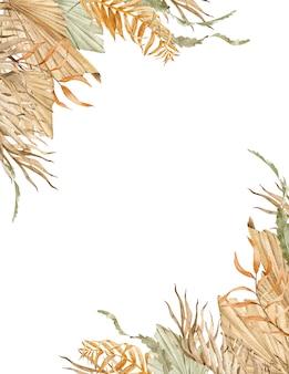 Aquarela moldura tropical com folhas de palmeira laranja, verde e bege. modelo exótico para o seu texto.