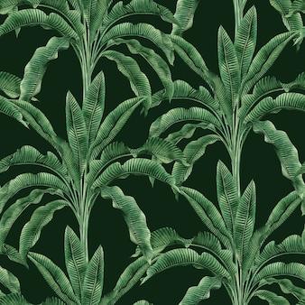 Aquarela natureza tropical com padrão sem emenda de folhas de palmeira desenhada de mão.