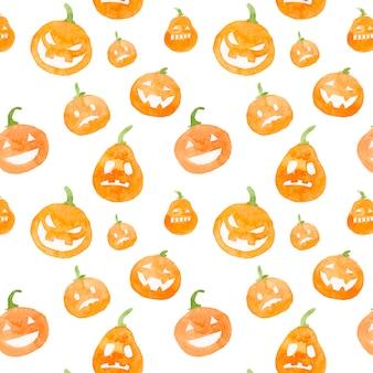 Aquarela padrão de abóbora de halloween.