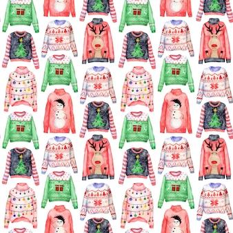 Aquarela padrão de camisolas feias de natal em fundo branco. roupas de natal jumper dia.