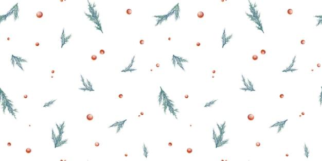 Aquarela padrão sem emenda de natal com ramos de abeto e bagas vermelhas isoladas no fundo branco