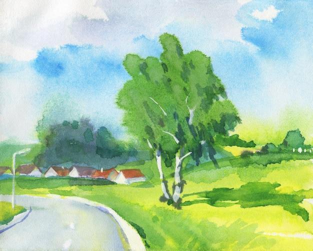 Aquarela paisagem com zona rural e estrada.