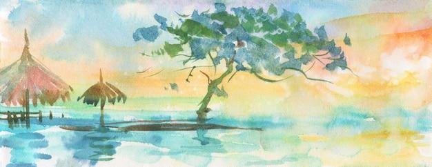 Aquarela palmeiras tropicais, praia.