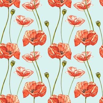 Aquarela papoilas vermelhas.