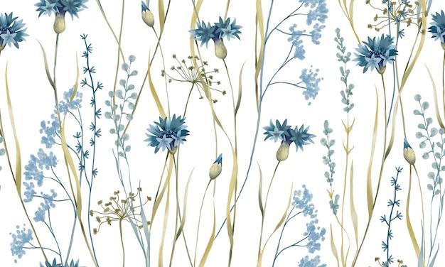 Aquarela pastel de flores azuis com folhas verdes padrão isolado no fundo branco