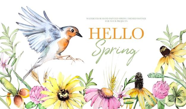 Aquarela pintada à mão com flores do campo vintage e ilustração de fundo de pássaros