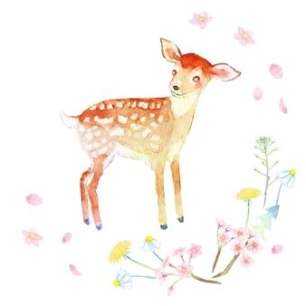 Aquarela pintada à mão de veado bebê e grinalda de flores da primavera, como bolsa de pastor dente de leão sakura e margaret