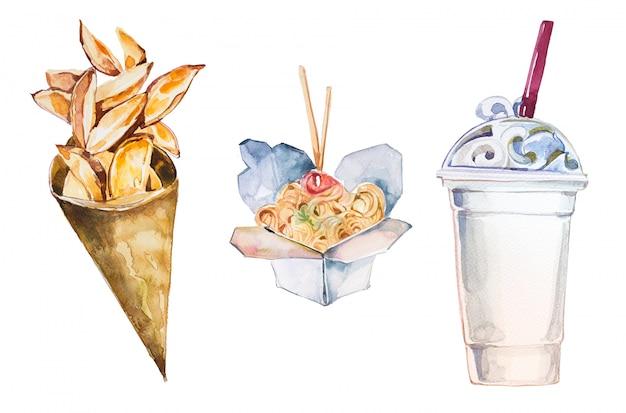 Aquarela pintada à mão fast-food. as batatas fritas, os chineses levam embora a caixa do alimento e a ilustração do shake de leite.