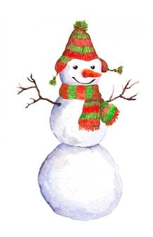 Aquarela pintada boneco de neve em cachecol vermelho-verde e chapéu