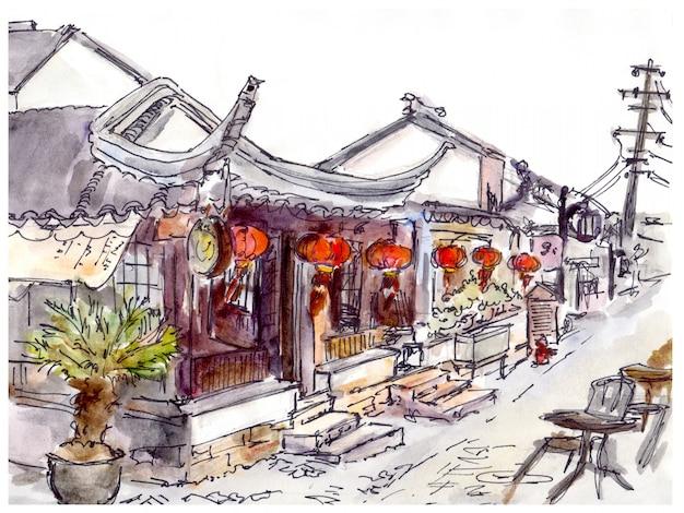 Aquarela pintada cidade velha chinesa, café e lanternas vermelhas