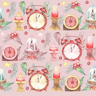Aquarela pintada padrão sem emenda de natal com relógios florais de inverno e velas.