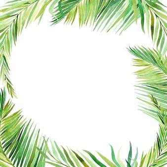Aquarela quadro de folhas tropicais