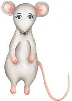 Aquarela ratinho cinzento.