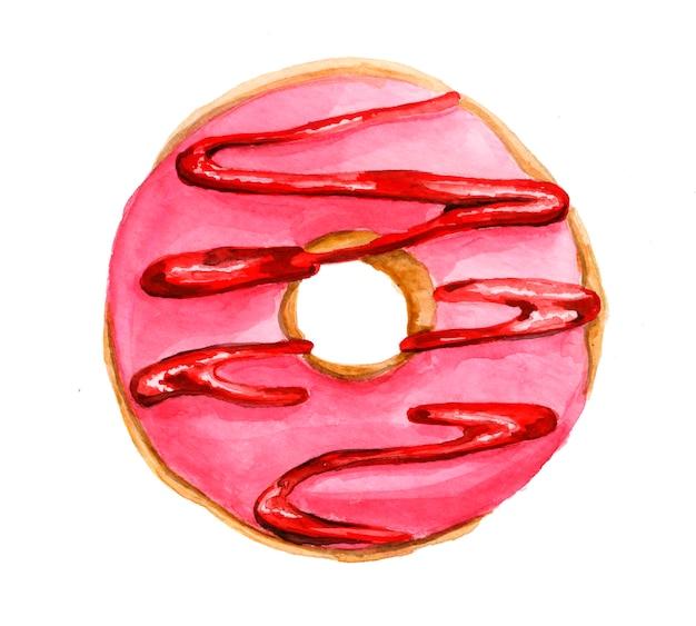 Aquarela rosa donut com geléia isolada. mão-extraídas ilustração aquarela.