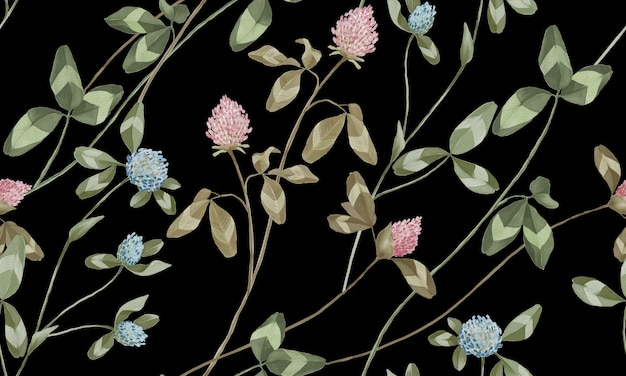 Aquarela rosa pastel e flores azuis com padrão de folhas verdes isoladas em fundo preto