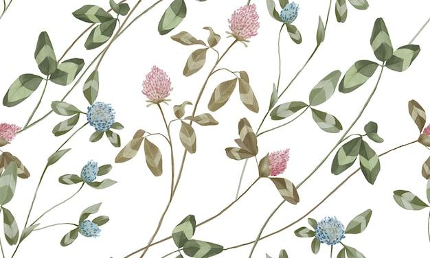 Aquarela rosa pastel e flores azuis com padrão de folhas verdes isolado no fundo branco