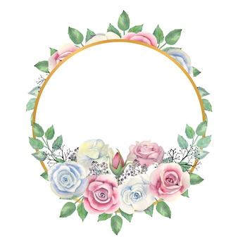 Aquarela rosas brancas e rosa com flores, folhas verdes, bagas em uma moldura dourada