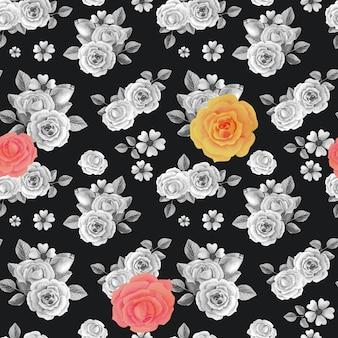 Aquarela rosas cinzas, amarelas, vermelhas sobre fundo preto.