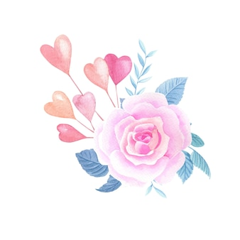 Aquarela rosas cor de rosa, corações. composição floral de aquarela de dia dos namorados em um fundo branco.