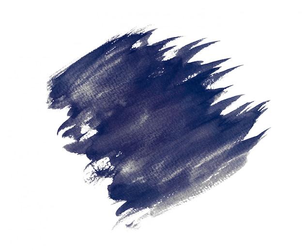 Aquarela roxa abstrata isolada em um fundo branco, pintura da mão no papel.