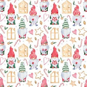 Aquarela sem costura de fundo com pequenos gnomos de natal em chapéus coloridos verdes e vermelhos e casas de madeira