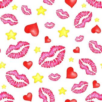 Aquarela sem costura de fundo de estampas de lábios, corações e estrelas. lábios imprime papel de embrulho. dia mundial do beijo, dia dos namorados. isolado no fundo branco.