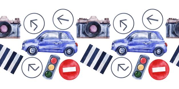 Aquarela sem costura fronteira com carros, sinais de trânsito, mapas e semáforos
