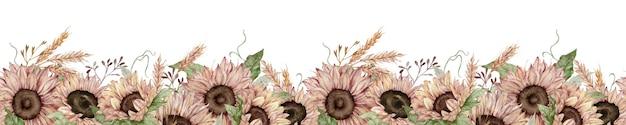 Aquarela sem costura fronteira com girassóis e espigas de trigo. fronteira de outono floral sem fim.