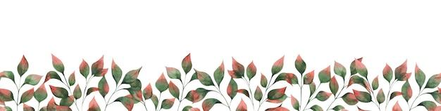 Aquarela sem costura fronteira com ramos de folhas de outono, folhas verdes com pontas vermelhas.