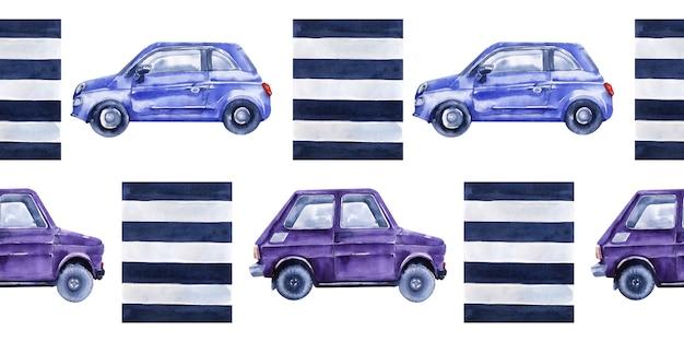 Aquarela sem costura fronteiras com carros, sinais de trânsito, mapas e semáforos