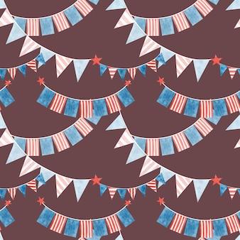 Aquarela sem costura padrão bandeiras de quatro de julho