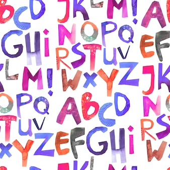 Aquarela sem costura padrão com alfabeto colorido