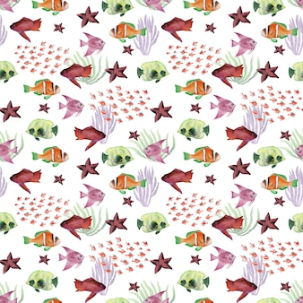 Aquarela sem costura padrão com algas animais e peixes