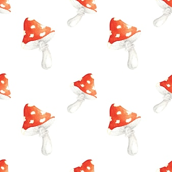 Aquarela sem costura padrão com amanita desenhado à mão agárico com mosca vermelha sobre fundo branco é perfeito para fazer cartões convites para festas papelaria etiquetas para festas logotipos de design de blog digital scrapbooking