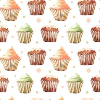 Aquarela sem costura padrão com bolinho, cupcakes. impressão de cor de água em um fundo branco. ilustração bonita.